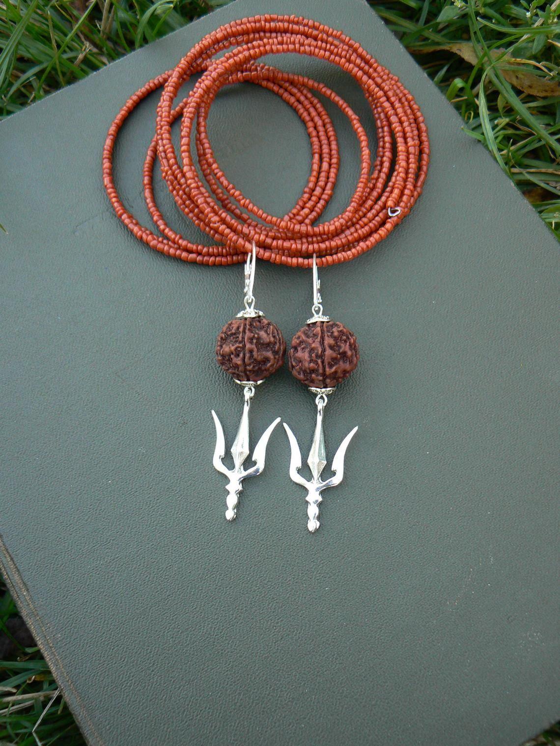 d4800a813 Shiva Trishul Rudraksha earrings, Hindu symbol, Kundalini yoga ...
