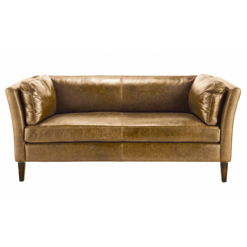 canap vintage 2 3 places en cuir camel maison du monde. Black Bedroom Furniture Sets. Home Design Ideas
