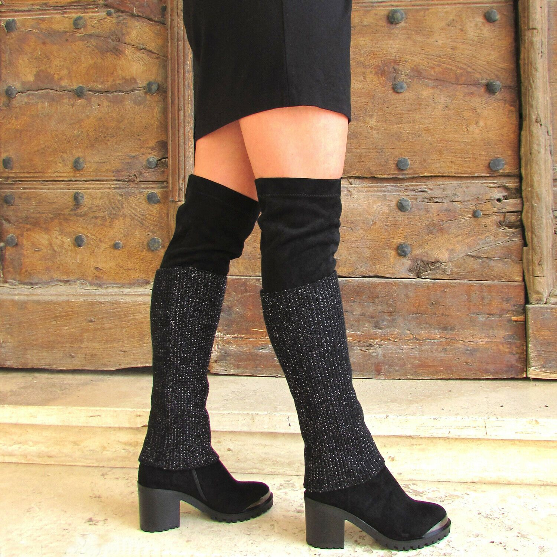 BRACCIALINI Stivali alti sopra il ginocchio neri tessuto