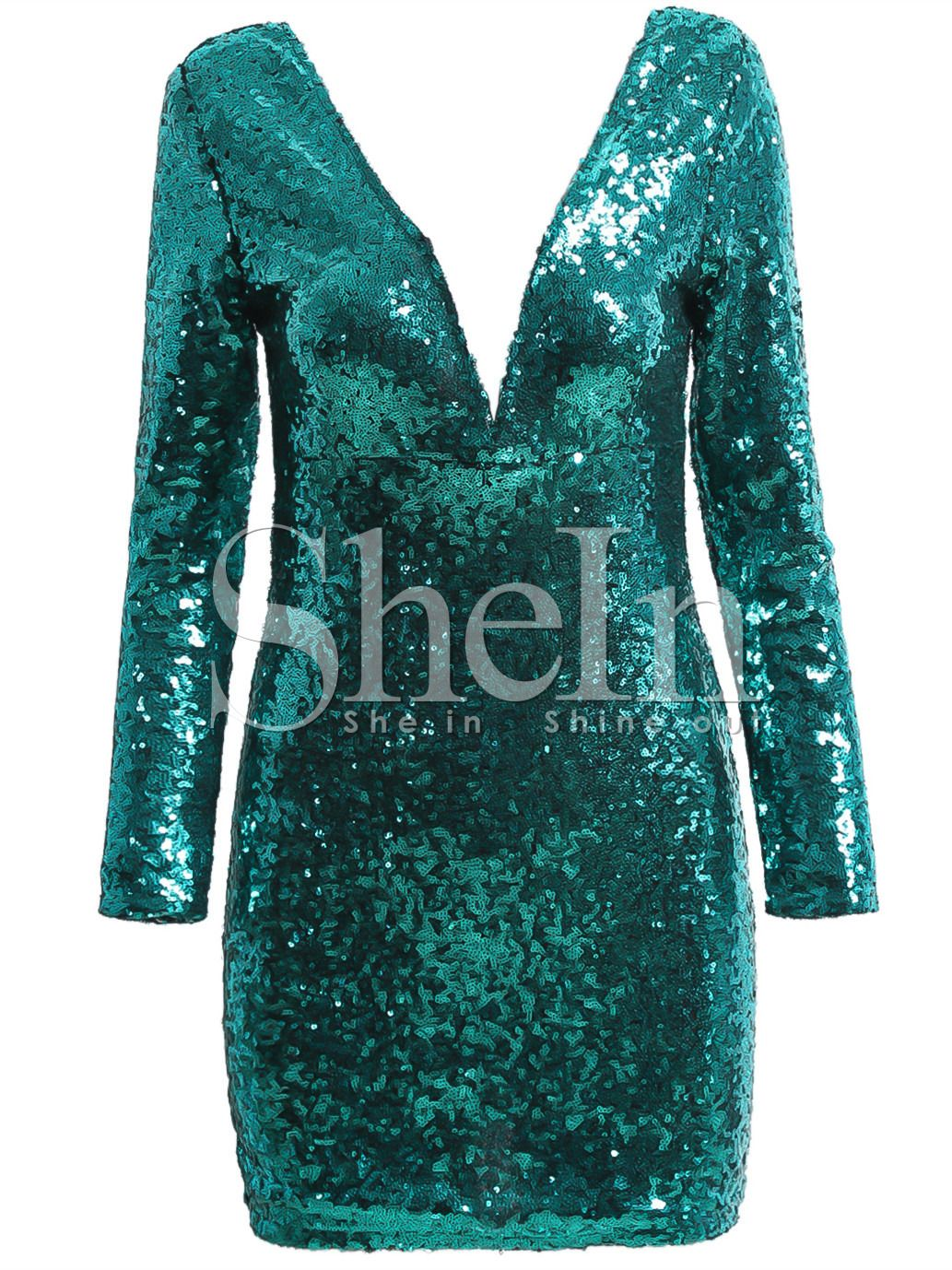 Green long sleeve cocktail dress  Green Cocktails Long Sleeve V Neck Sequined Dress   Clothes