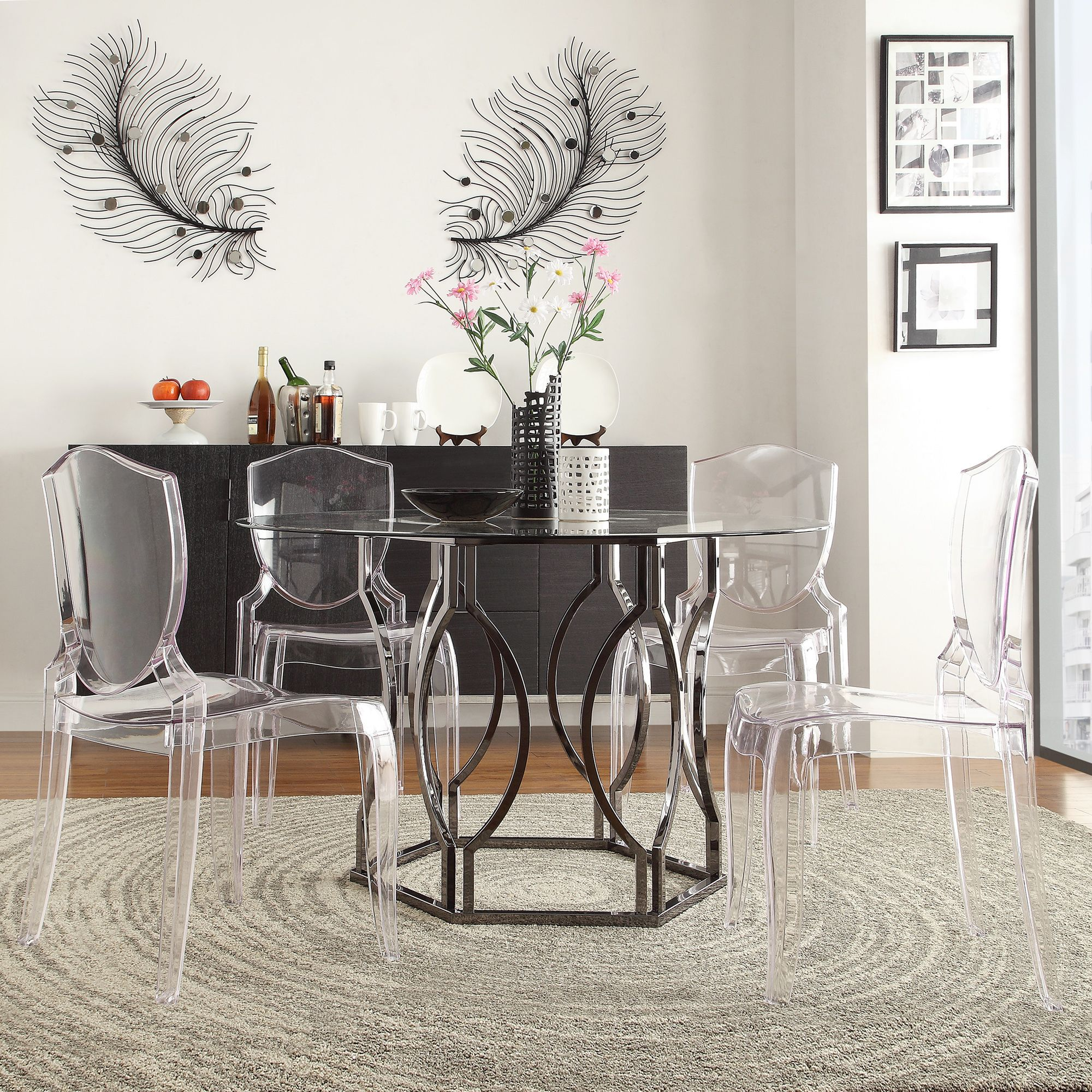 Concord Black Nickel Plated Round Glass Dining Table by iNSPIRE Q Bold by  iNSPIRE Q