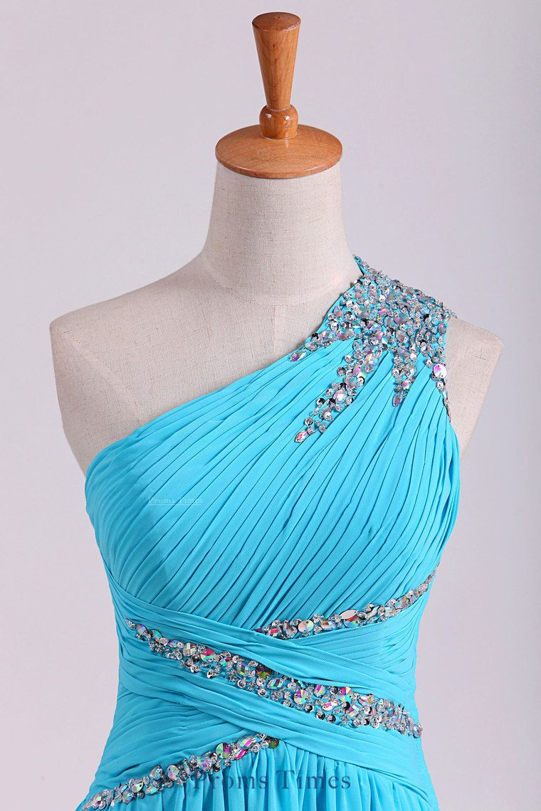 one shoulder prom dresses a line chiffon with beads and ruffles