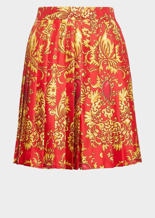 1d06373a18 V-Mine Print Pleated Silk Skirt for Women   US Online Store in 2019 ...