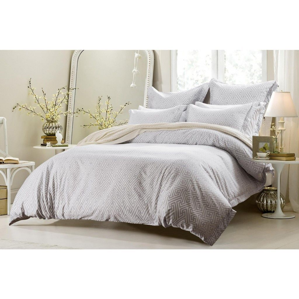 6PC WHITE GREY DESIGN BEDDING SETINCLUDES COMFORTER AND
