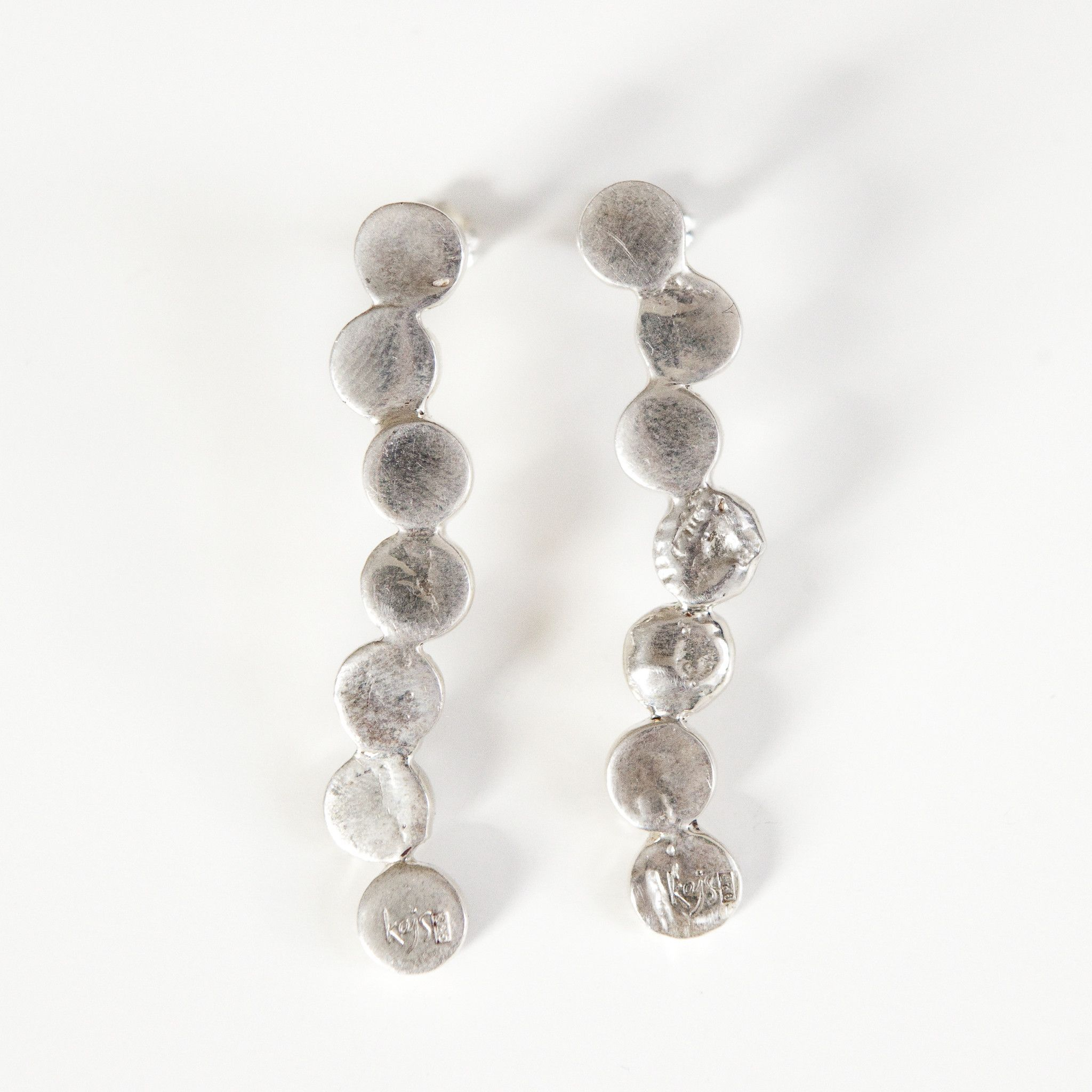 EXTENDED CASCADE CIRCLE EARRINGS silver
