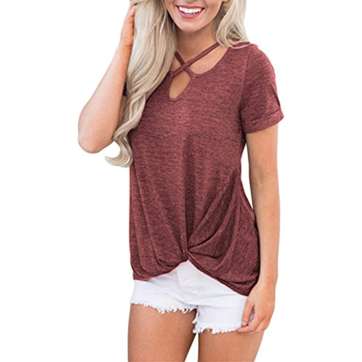 Women Plus Size Cross Lace Two Tone Knotted T Shirt Tops Short Sleeve Blouse