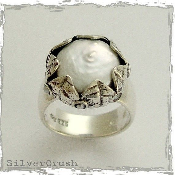 Coin pearl ring Silvercrush Etsy