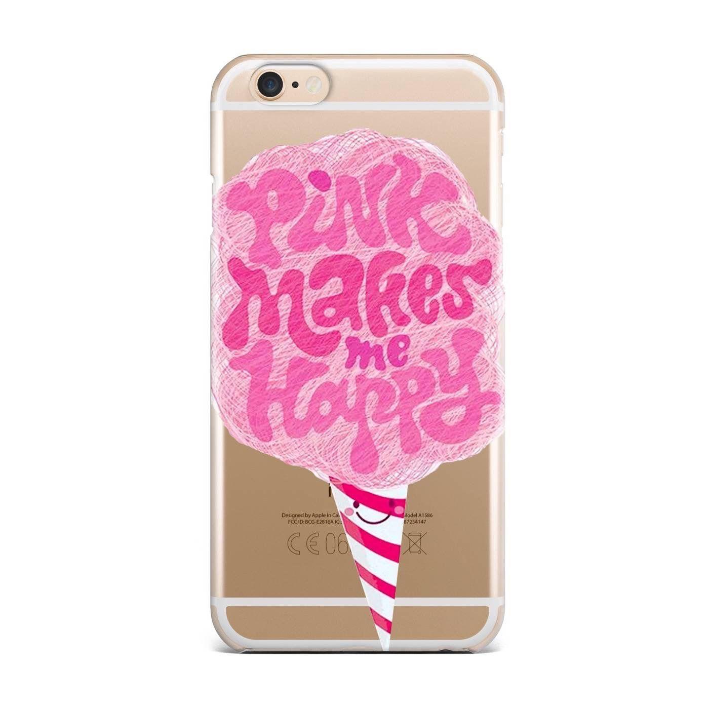 'Pink makes me happy' transparent case
