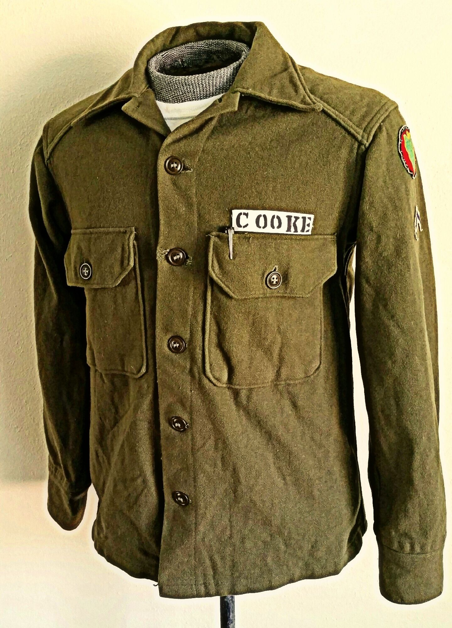 Korean War Us Army M1951 Wool Field Shirt 24th Infantry Division This Shirt Has A Hand Made White Cotton Name Tape Sewn Ov Korean War Military Jacket Shirts