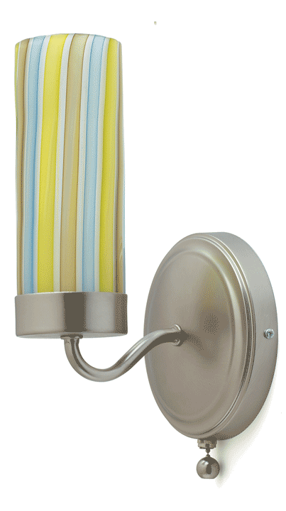 Tracey Glover Cylinder Wall Sconce (Tide Pool w/ brushed nickel)  , hand blown glass avail in an array of colors back plates also avail. in satin brass finish.