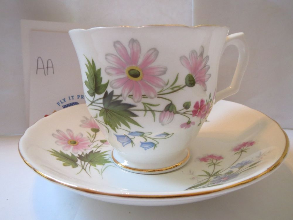 STAFFORDSHIRE - WILD FLOWERS - TEACUP AND SAUCER            AA
