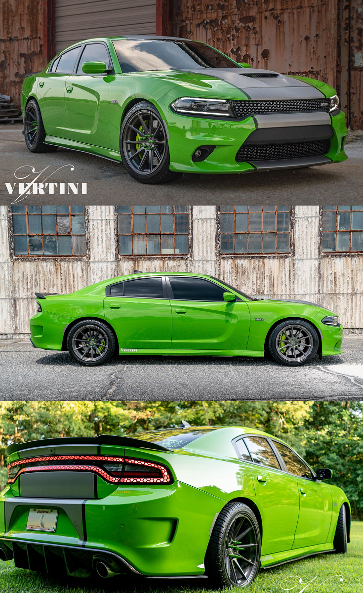 Sporty Looking Dodge Charger Boasting Custom Green And Black Paint Job Dodge Charger Dodge Charger Hellcat Dodge Muscle Cars
