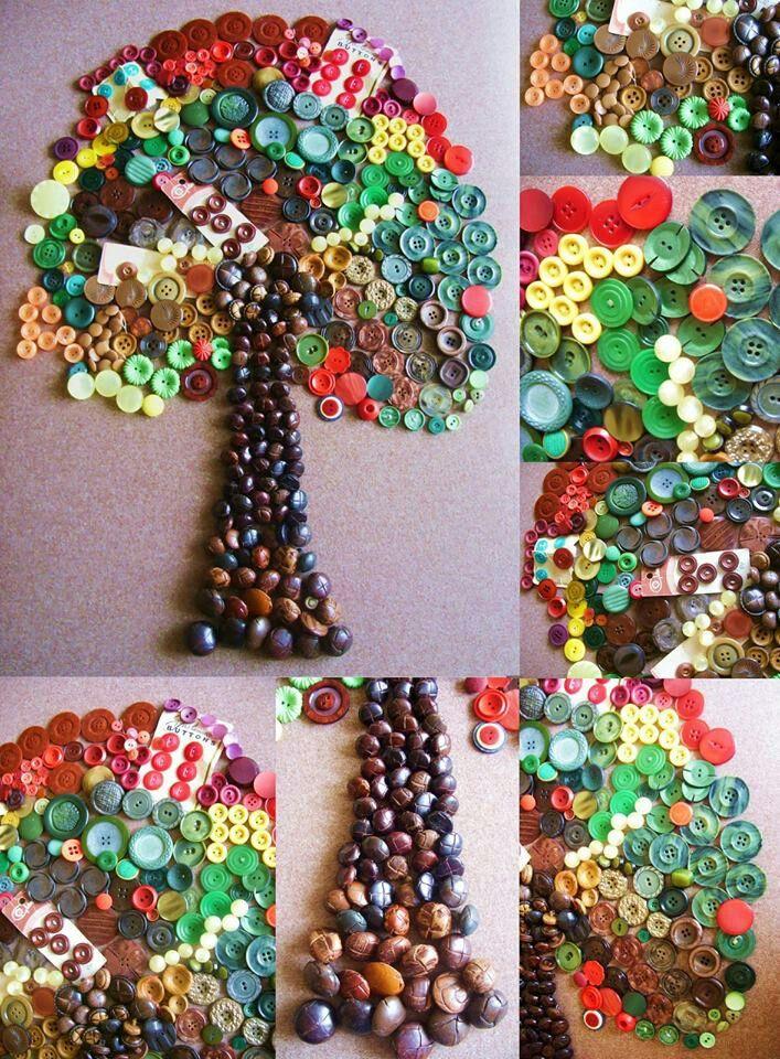 Cuadro en forma de arbol hecho con botones diy - Cuadros con botones ...