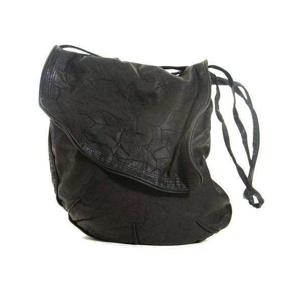 6658b6468f42 Black Leather Hobo Bag Vintage 90s Large Size Butter Soft Slouchy Shoulder  Bag by Brio