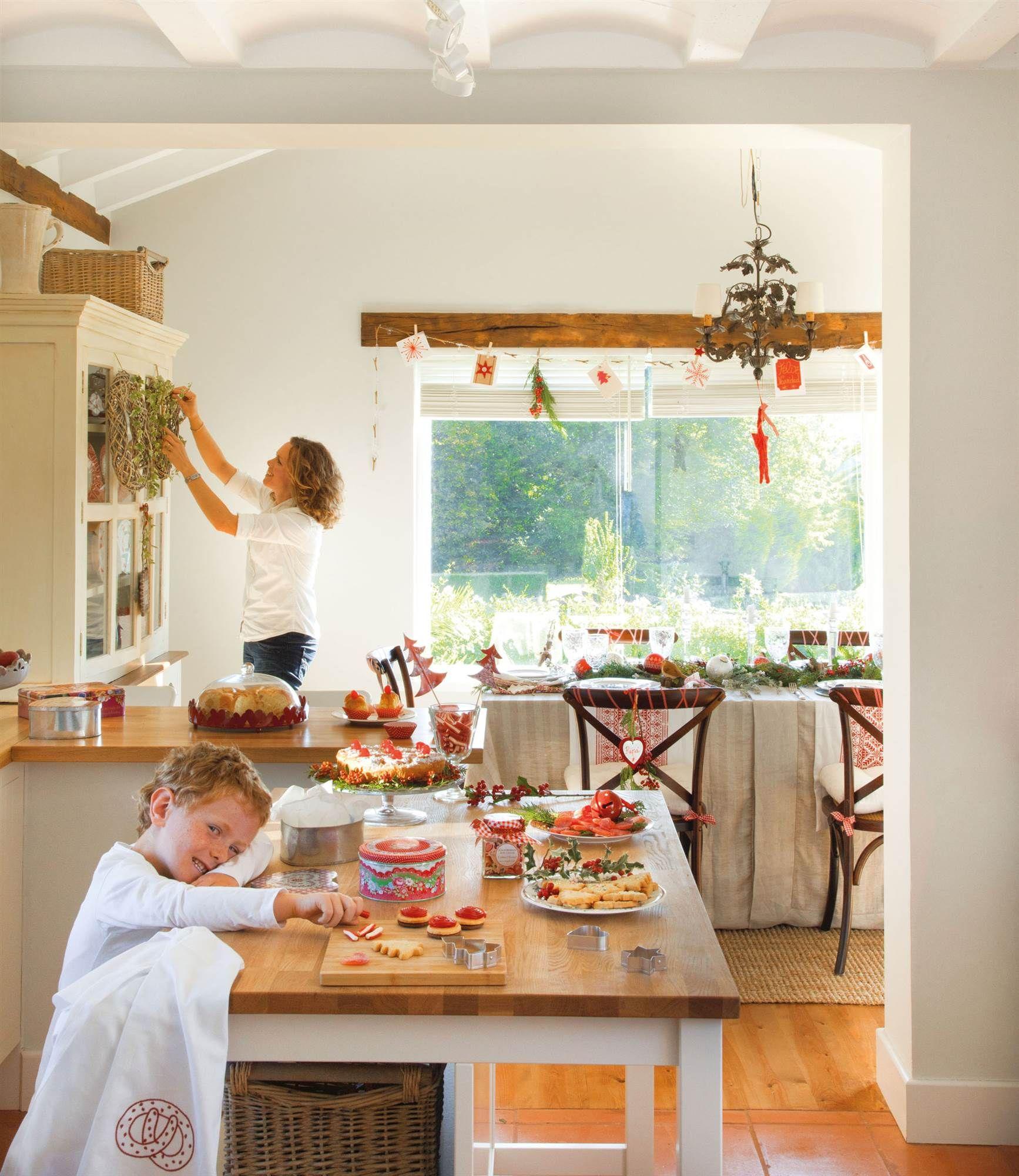 Cocina y edor r sticos decorados de Navidad