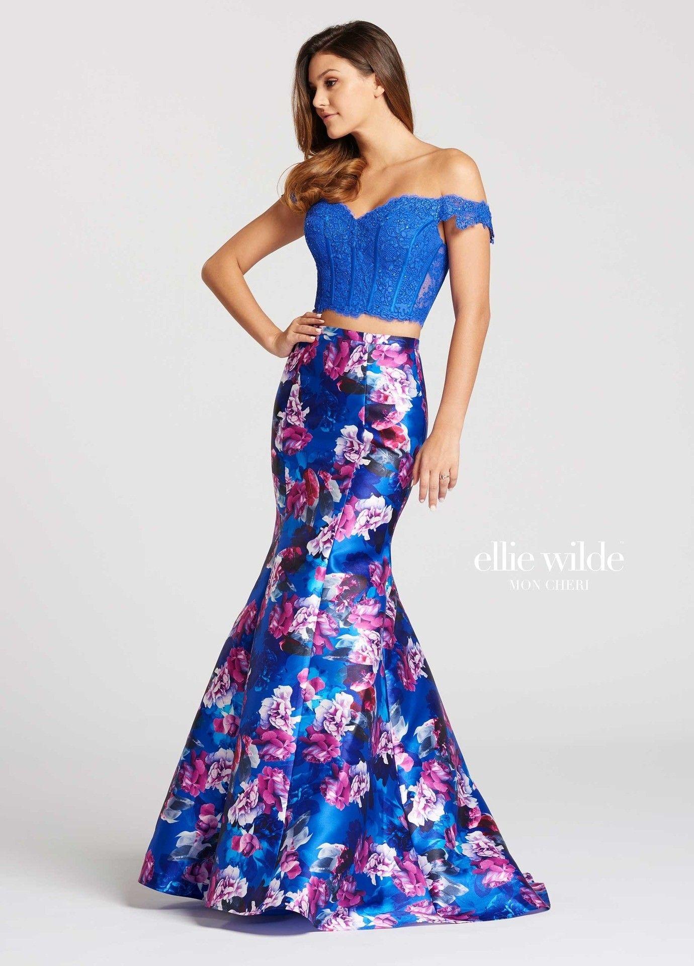 Ellie wilde ew floral twopiece mermaid gown mermaid skirt
