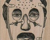 Rubber stamp Man In Corrective Face Mask oddity Mounted  scrapbooking supplies  15956