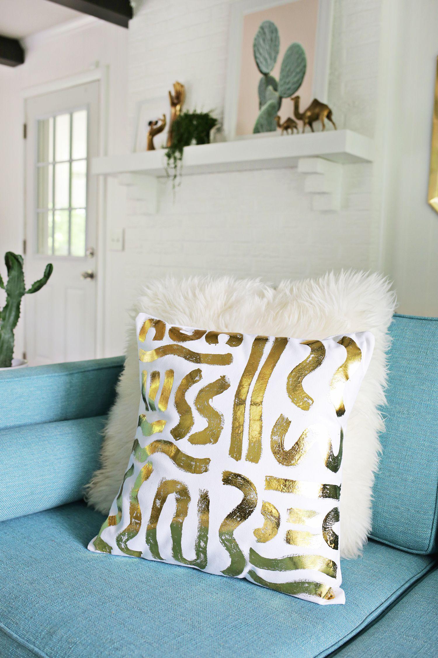Gold Foil Pillow Diy Cojines Almohadones Estampados Textiles