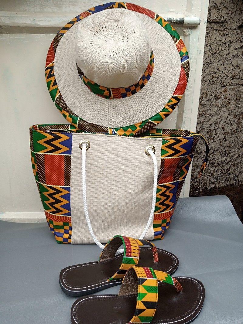 A Set Of Maasai Kente Bag With A Matching Sandal And Hut In 2021 African Bag Handmade Bags Ankara Bags