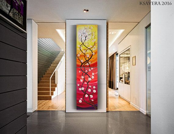 Cherry blossom tree painting red vertical wall art acrylic original contemporary art ksavera acryl on canvas