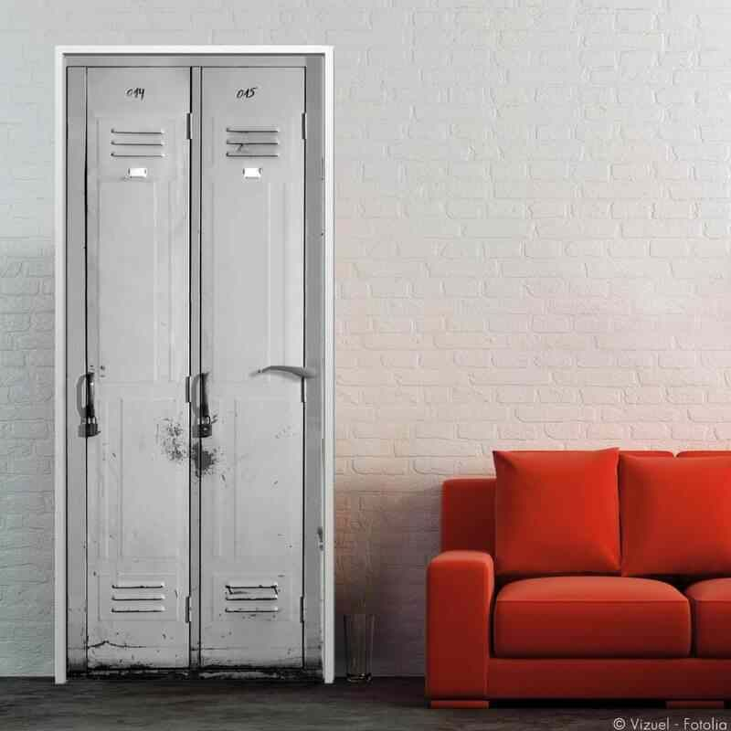 stickers porte vestiaires d co industrielle pour porte door pinterest portes casier et deco. Black Bedroom Furniture Sets. Home Design Ideas
