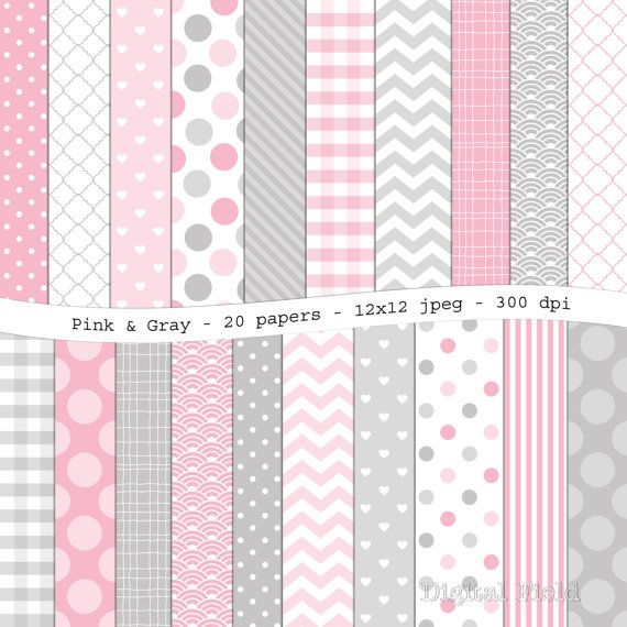 Pink And Gray Digital Scrapbooking Paper Pack 20 Printable Jpeg