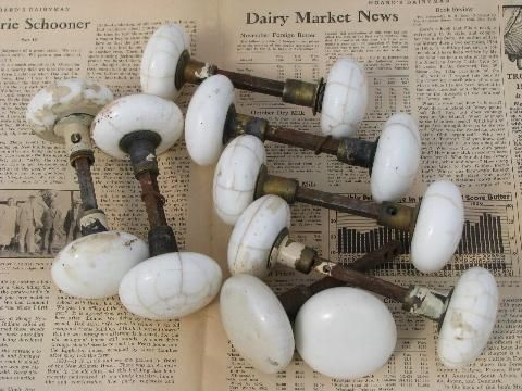 antique marbled crackle white porcelain door knobs, vintage hardware ...