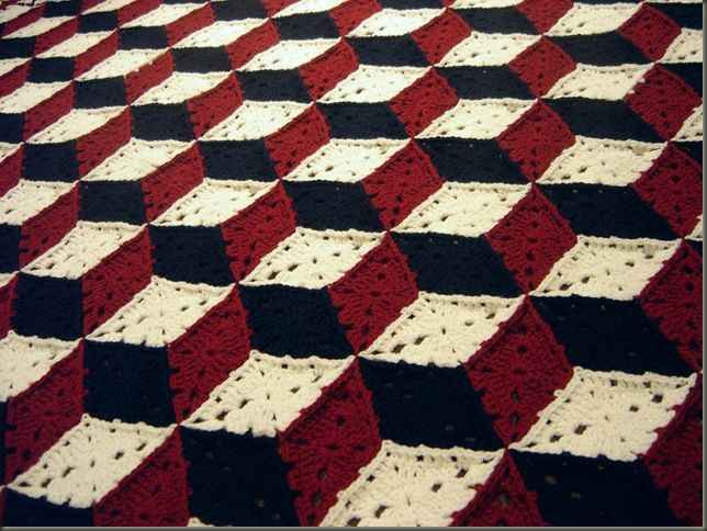 Knitted Quilt Block Patterns : Tumbling block granny square needle wielding pinterest