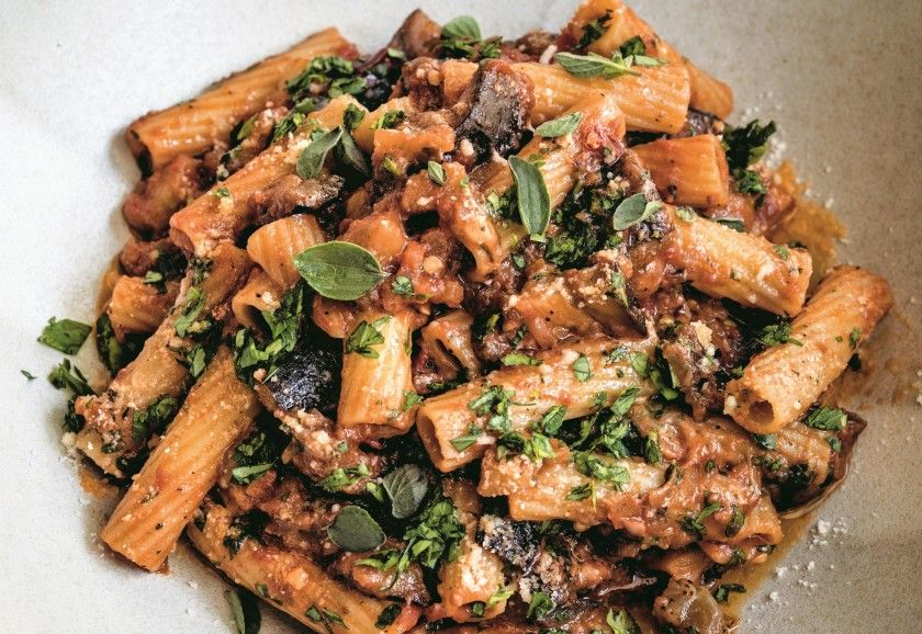 Bobby flays eggplant bolognese is meatless but hearty