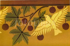 French Art Nouveau repeat stencil design (Art Nouveau repeating stencil design by M.P.Verneuil, c.1895-98. This one features birds and...)