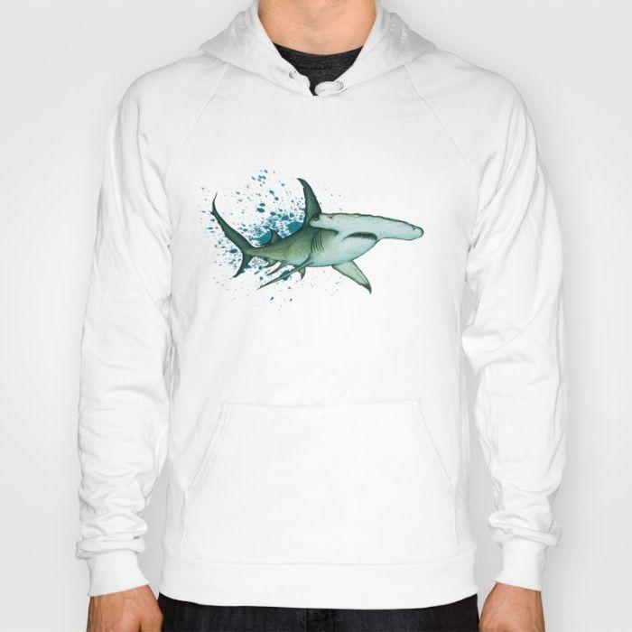 Apparel • Great Hammerhead Shark Splash ~ watercolor by wildlife artist Amber Marine ••• AmberMarineArt.com