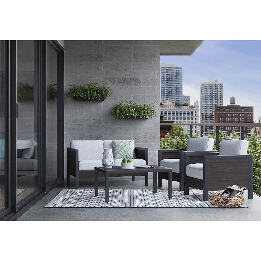 Bryant 4pc Metal Patio Conversation Set Brown Beige Project 62 With Images Outdoor Patio Furniture Sets Black Patio Furniture Outdoor Furniture Sets