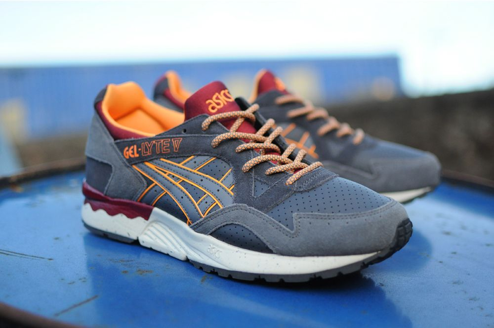 asics gel lyte v - black / dark grey / orange