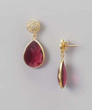 Love this Gold & Hydro Amethyst Tear Drop Earrings on #zulily! #zulilyfinds