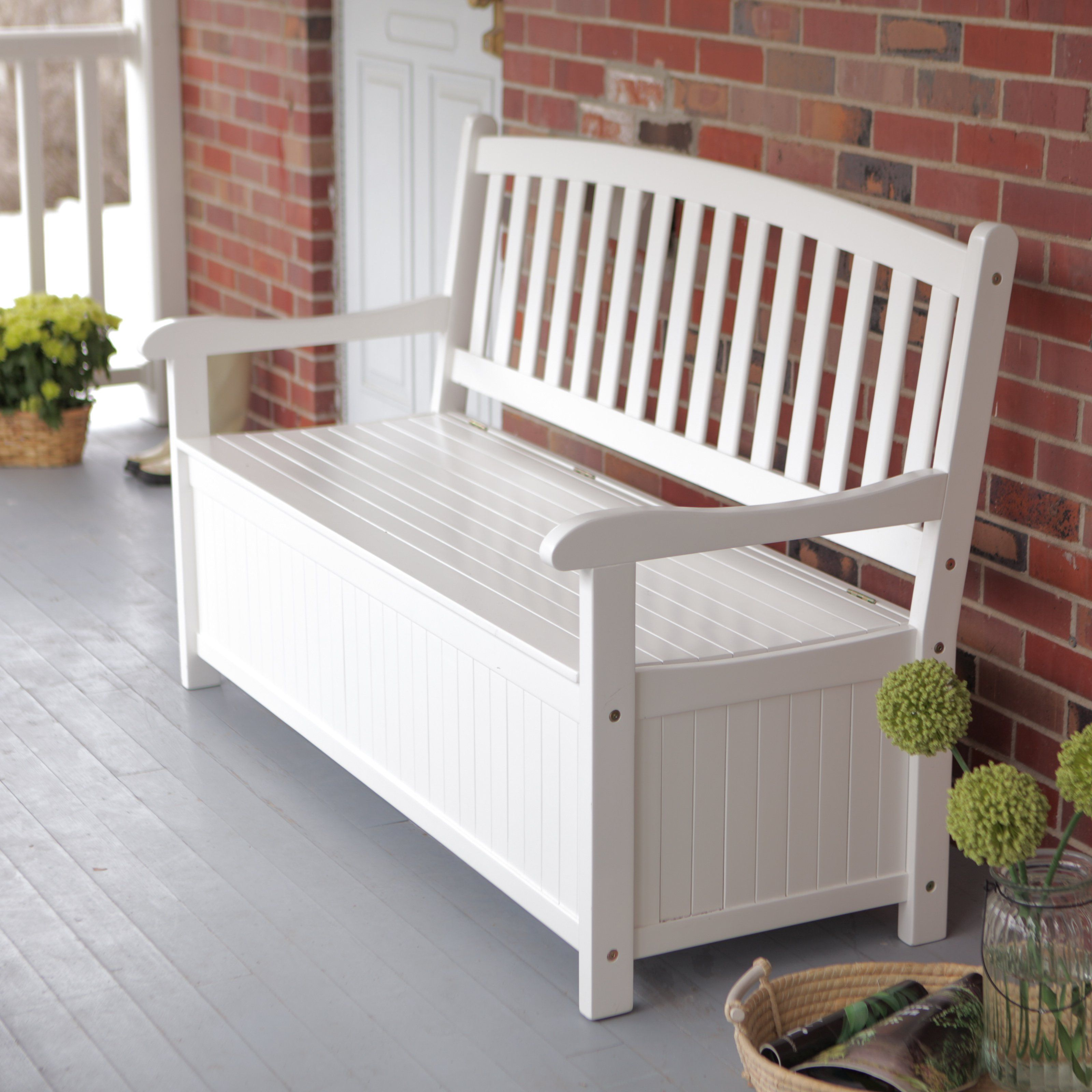 Curved Back Outdoor Wood 40 Gallon Storage Bench White Ns Lv 14