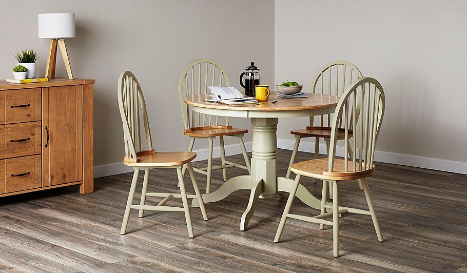 Buy Yvette Round Dining Table And 4 Chairs Sage Green From Our