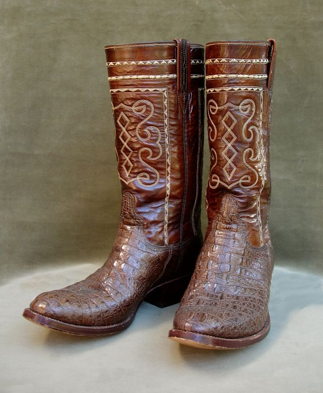 2145dec4509 Vintage Lucchese boots with chocolate brown crocodile lower ...