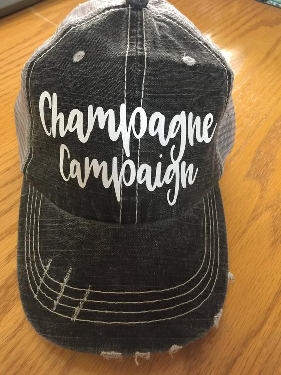 Champagne Campaign Custom Hat-Distressed Trucker Hat-New!  81276ea0103