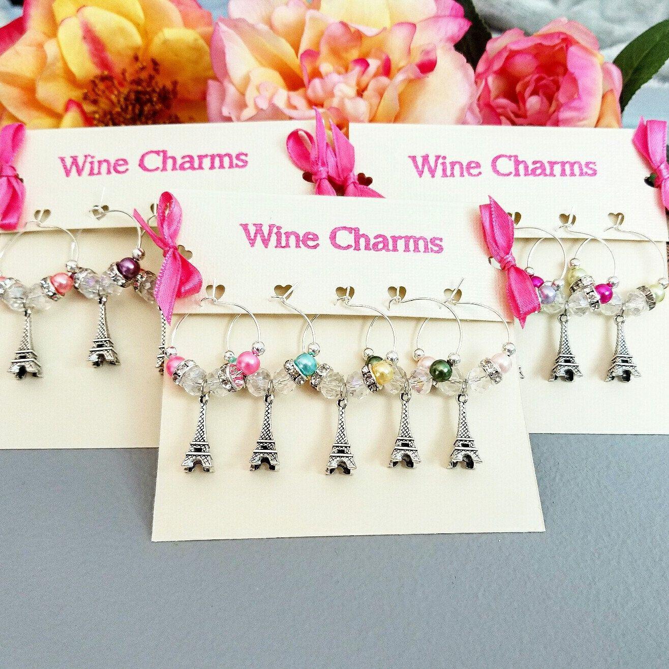 5 Paris Wine Glass Charms Paris Theme Favors Pink Wine Charms/ Wine ...