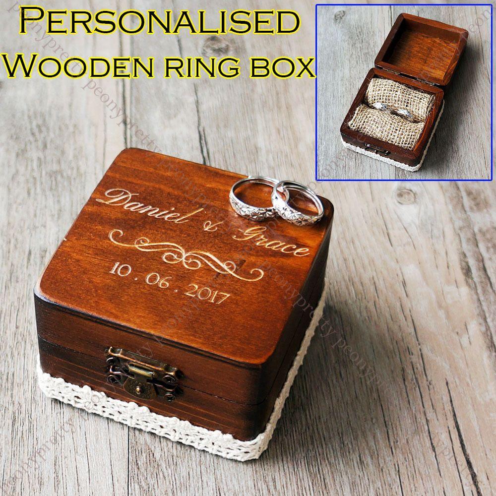 3 4aud Personalised Square Wooden Retro Wedding Ring Box Custom