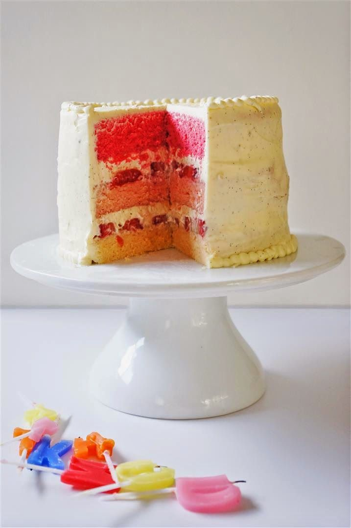 Cakelets And Doilies Birthday Cake Japanese Style Strawberry Ombre