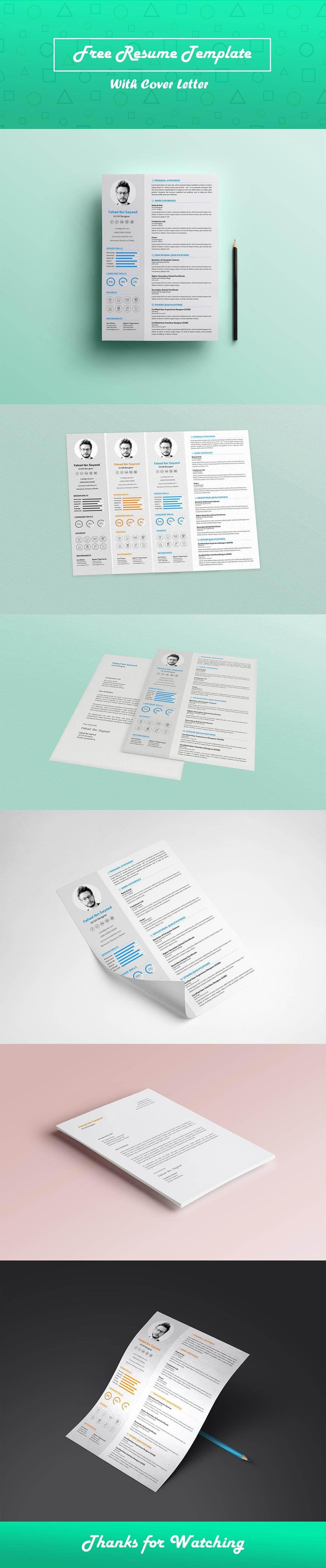 Free CV Resume PSD Template Psd templates, Templates, Resume