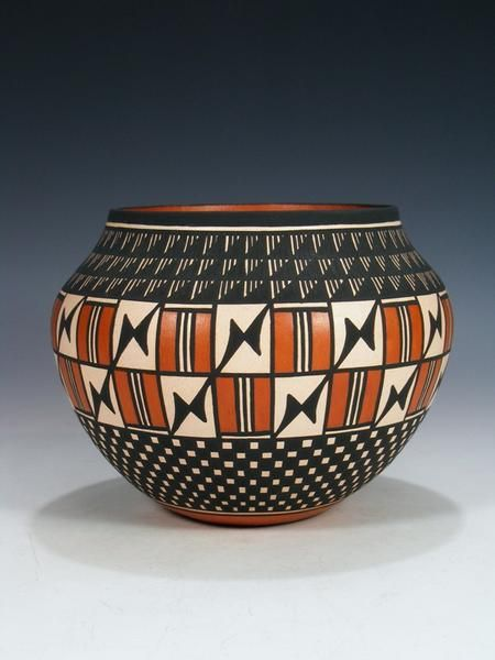 Native American Acoma Vase in Bold Bright Hand Painted Colors Acoma Pueblo