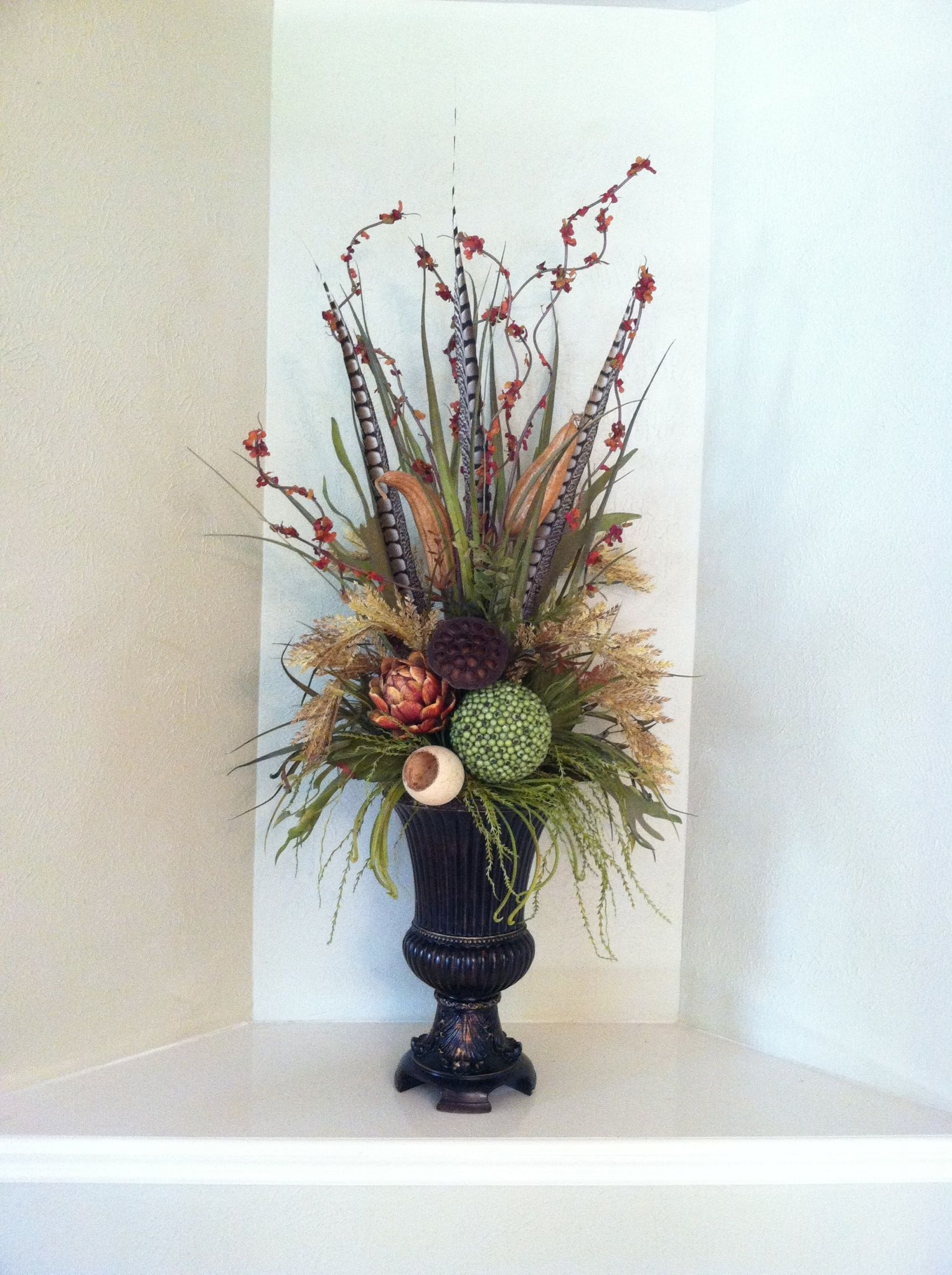 Tall Elegant Natural Floral Arrangement Using Tall Green Grasses Tall Feathers Amp Natural