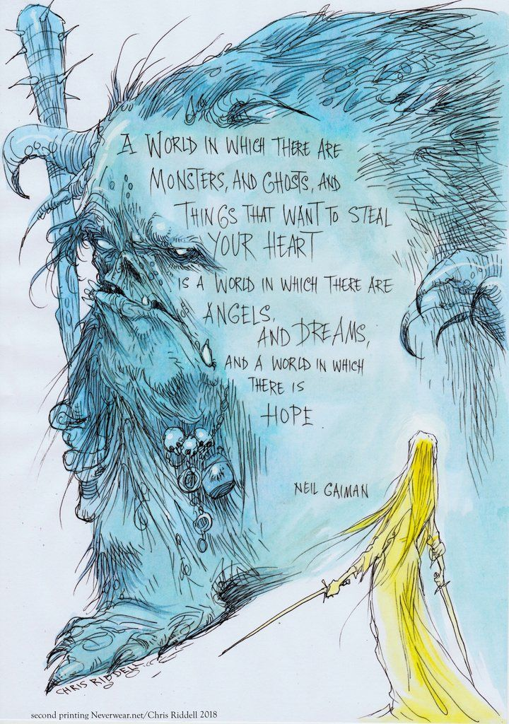 BRAND NEW! Second printing! Chris Riddell illustrates Neil's words on HOPE: limited edition print