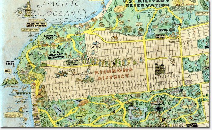 Tourist Map Highlights Neighborhood Landmarks Richmond SF - San francisco city map tourist