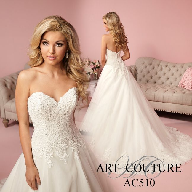 Drop Waist A-line Tulle Gown With Lace Bodice, Sweetheart