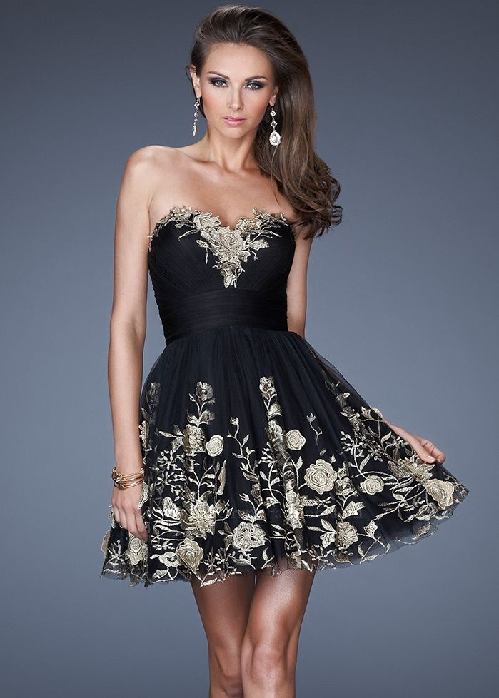 6eee74474b7 Buy Now La Femme 19519 strapless black with gold floral appliqués short  Homecoming dresses available now at RissyRoos.com