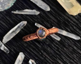 Unique copper ring with labradorite stone  Unique copper ring with labradorite stone