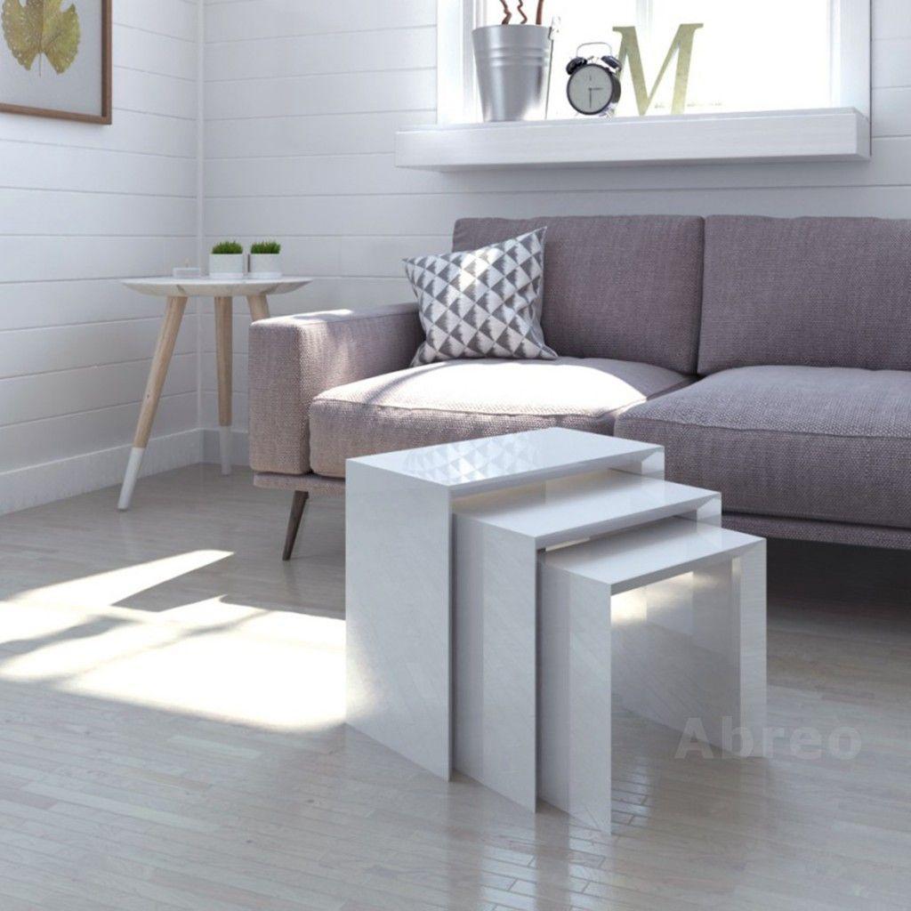 White Gloss Nest Of Tables Modern Furniture Living Room White